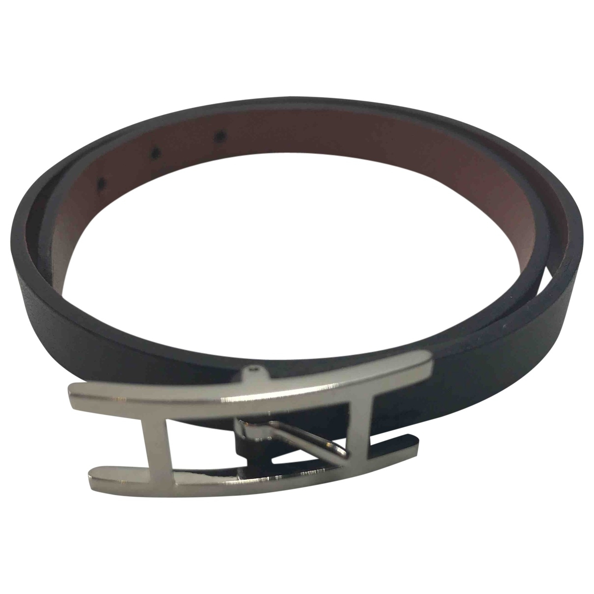 Hermes - Bracelet Drag Double Tour pour femme en cuir - noir