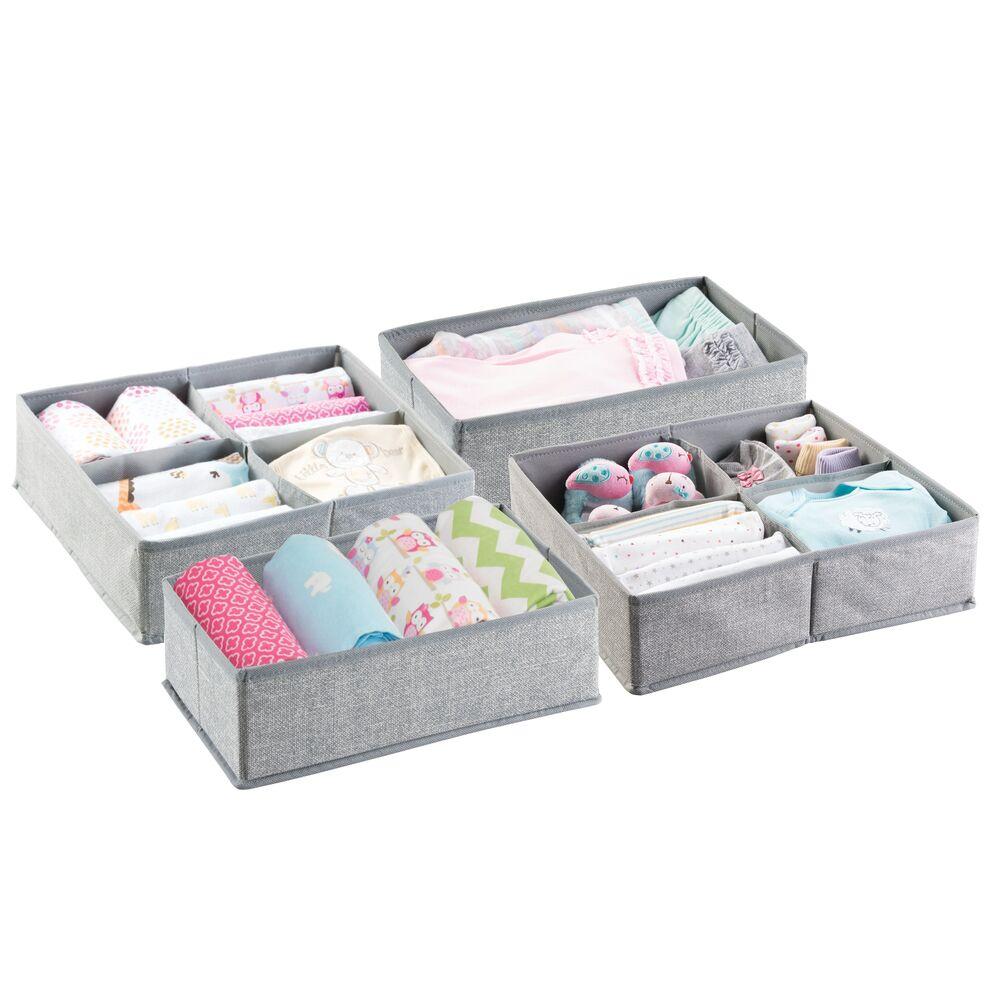 Kids Fabric Closet Dresser Drawer Storage Organizer in Gray, by mDesign