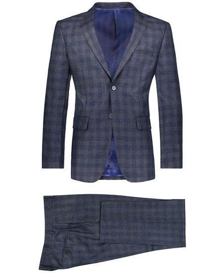 Mens 2 Button Suit Window Pane ~ Plaid Suit ~ Blazer & Pants Navy