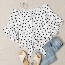 Bluse mit Dalmatiner Muster und Band vorn