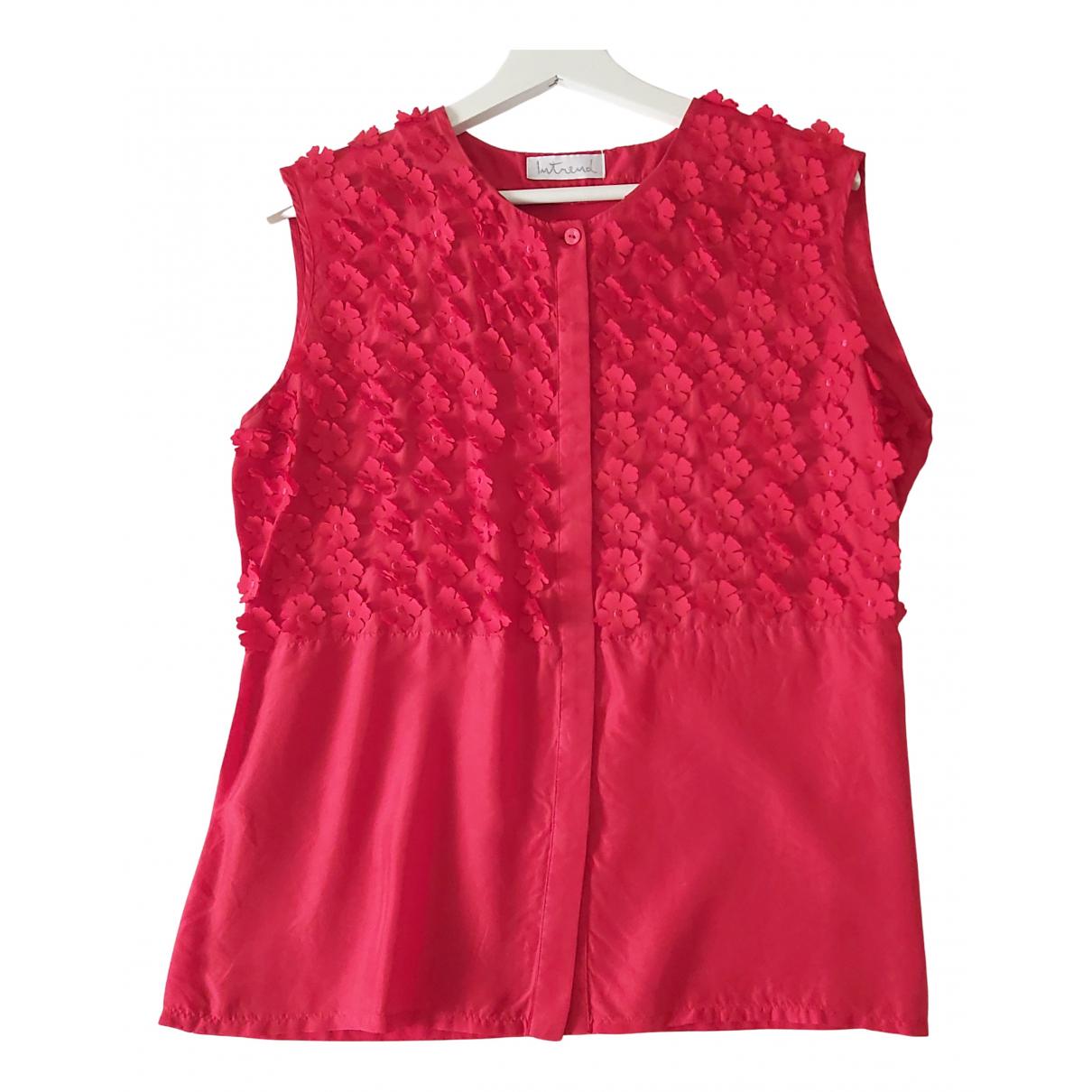 Intrend N Red Silk  top for Women XL International