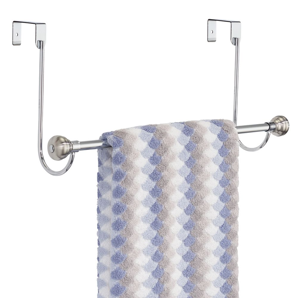 Metal Over Shower Door Towel Bar Rack for Bathroom in Brushed, 6