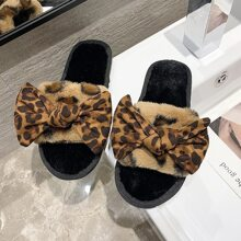 Leopard Bow Fluffy Slippers