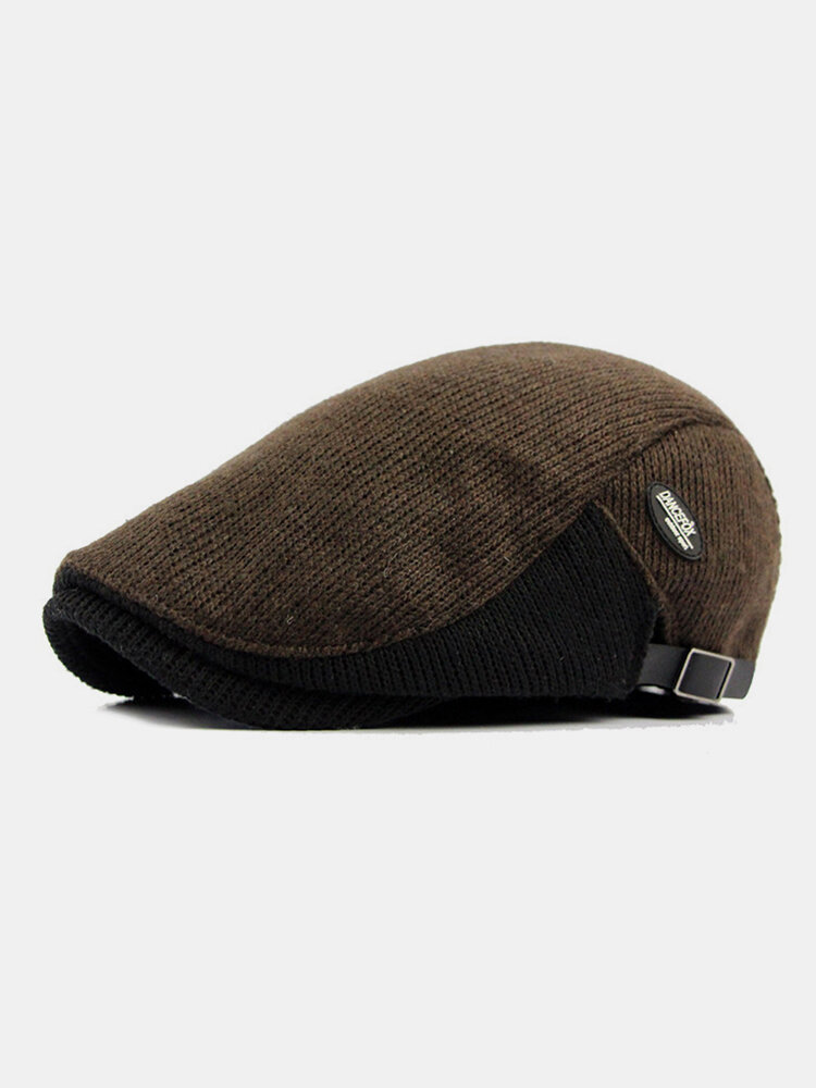 Men Wool Plus Thick Keep Warm Patchwork Color Knitted Forward Hat Flat Cap