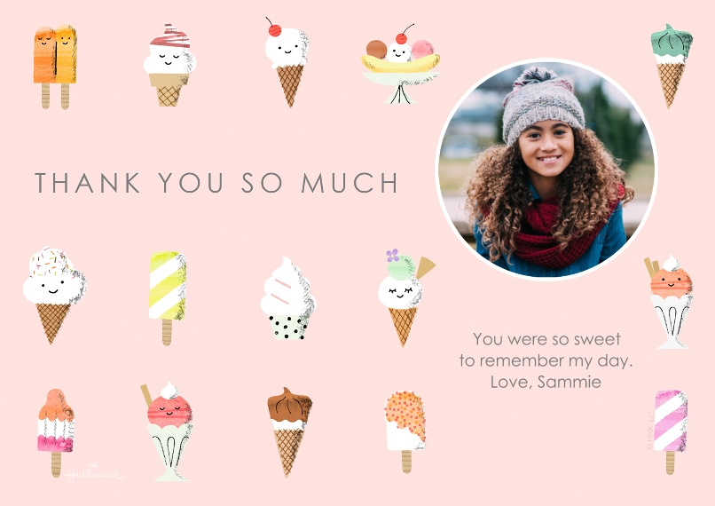 Kids Thank You Cards 5x7 Cards, Standard Cardstock 85lb, Card & Stationery -Ice Cream Pattern Thank You