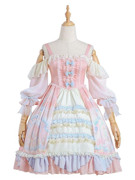 Milanoo Sweet Lolita OP Dress Cloud Dreamland Ruffles Bows Lolita One Piece Dresses