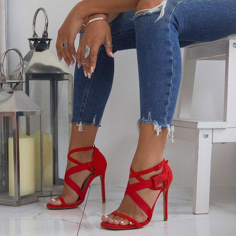 Ericdress PU Buckle Open Toe Stiletto Heel Women's Sandals
