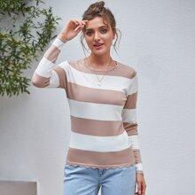 Kate Kasin Zweifarbiger Pullover mit Chevron Saum