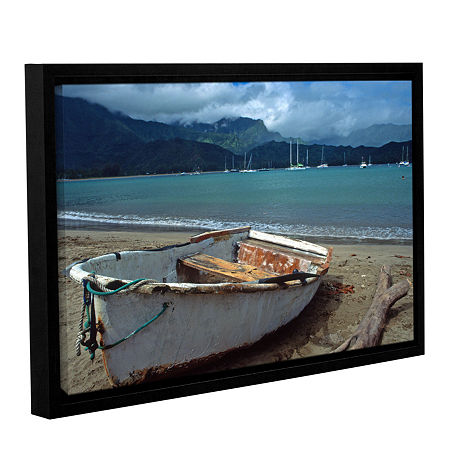 Brushstone Waiting To Row In Hanalei Bay Gallery Wrapped Floater-Framed Canvas Wall Art, One Size , Blue