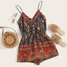 Floral and Tribal Print Button Front Cami Romper