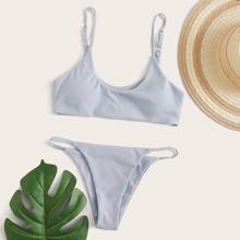Gerippter Bikini Badeanzug