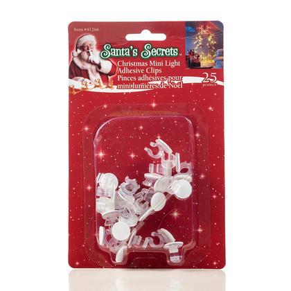 Christmas Mini Light Adhesive Clips, 25Pcs - Santa's Secrets