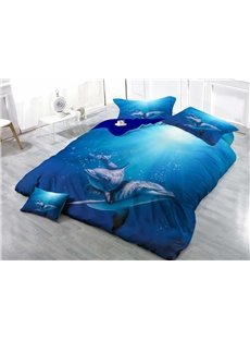 Blue Dolphins Wear-resistant Breathable High Quality 60s Cotton 4-Piece 3D Bedding Sets