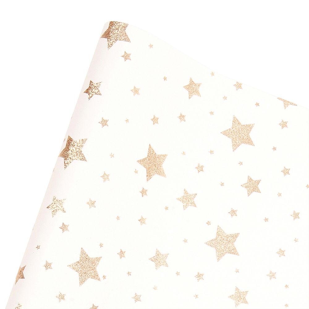 Geschenkpapier bedruckt mit Sternen und goldfarbenem Glitzer 1,50M