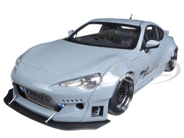Rocket Bunny Toyota 86 Concrete Grey with Black Wheels 1/18 Model Car by Autoart