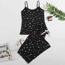 Conjunto de pijama ribete con encaje con estampado de galaxia