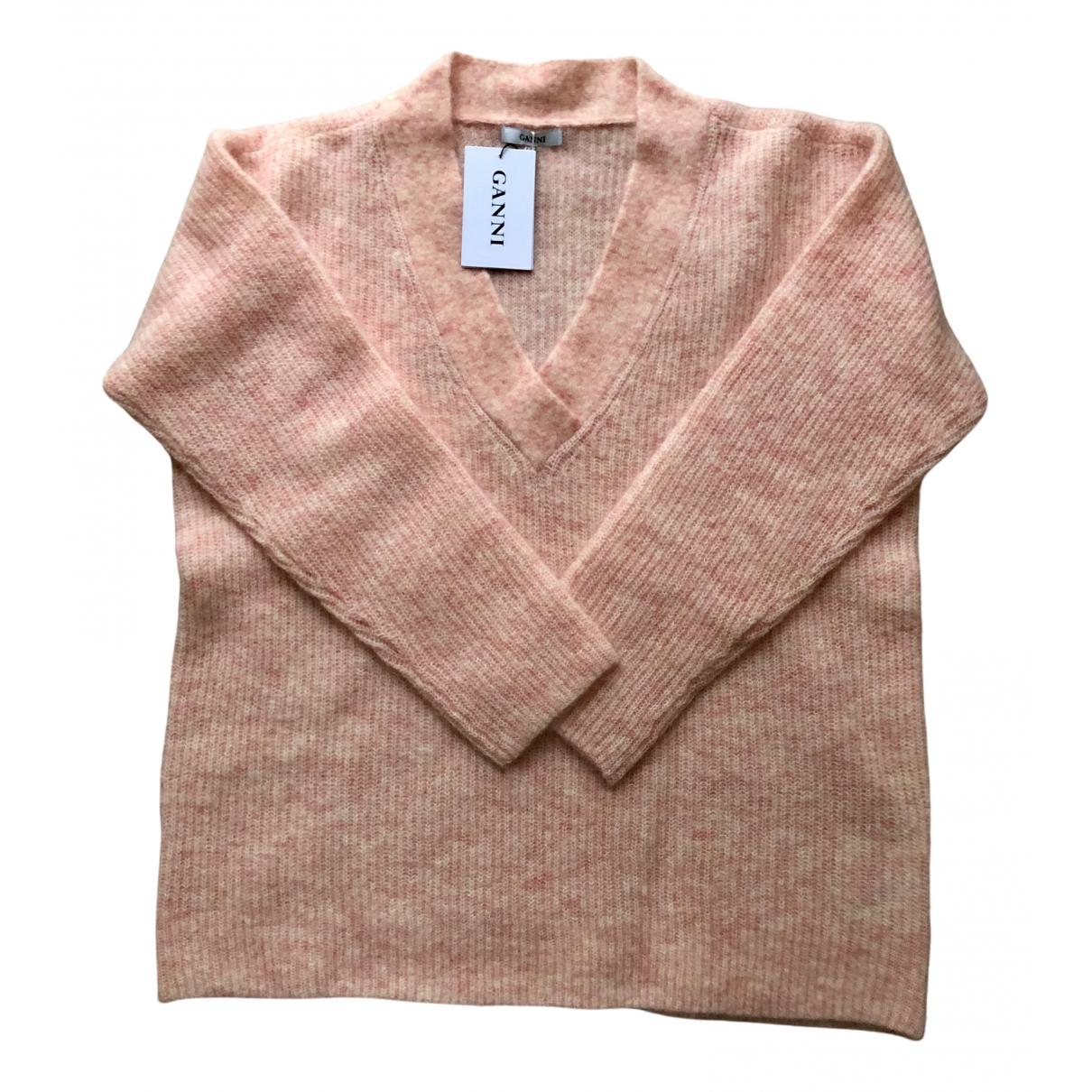 Ganni - Pull   pour femme en laine - rose