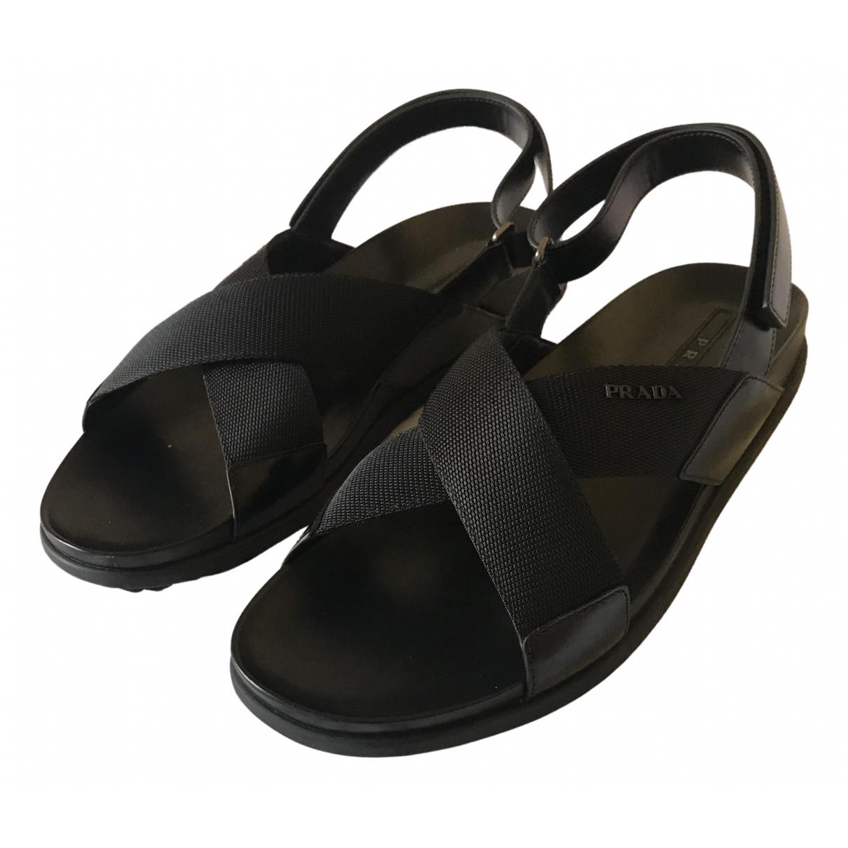 Prada - Sandales   pour homme en cuir - noir