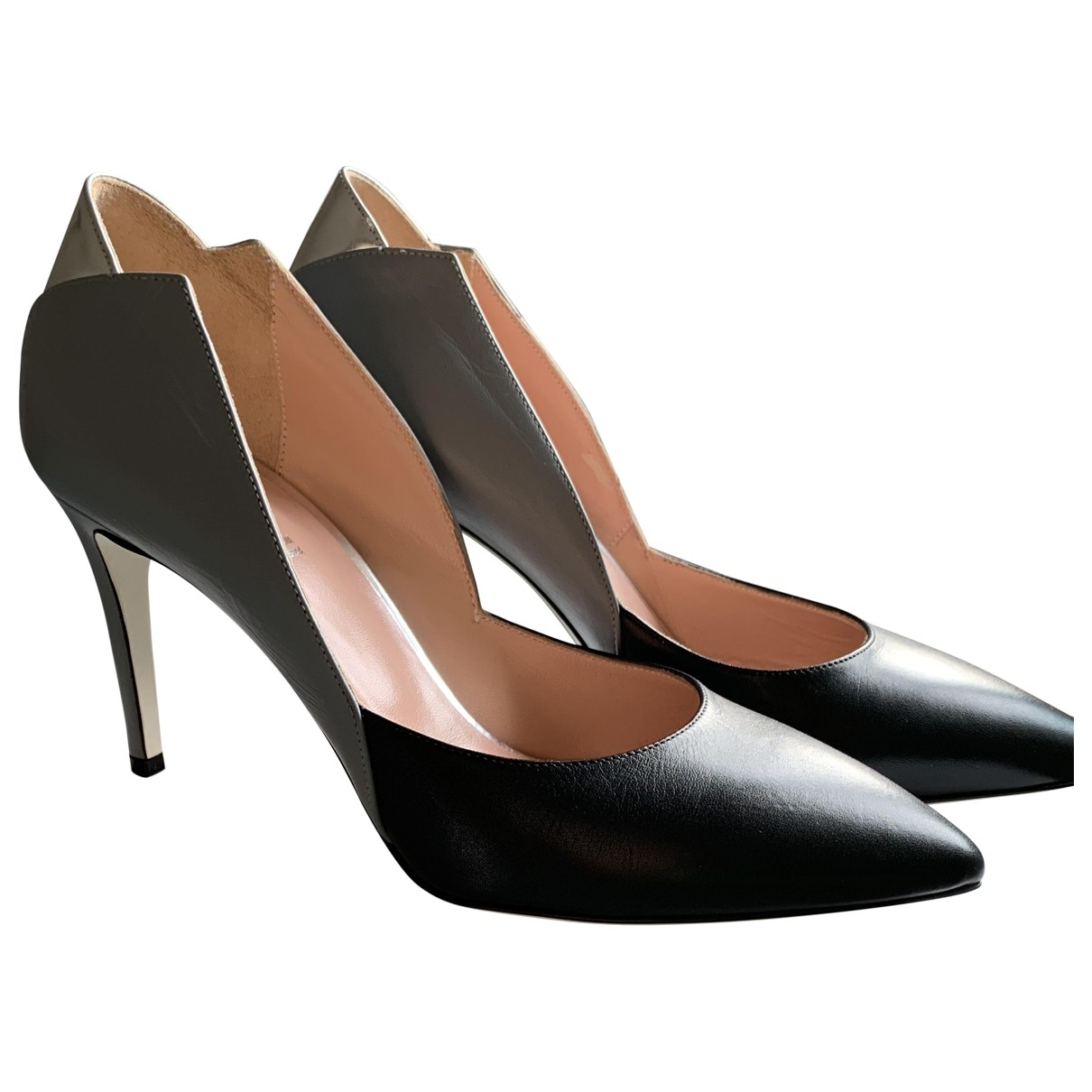 Pollini \N Black Leather Heels for Women 37 IT