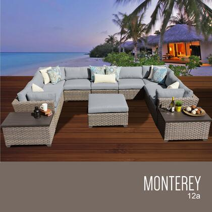 MONTEREY-12a-GREY Monterey 12 Piece Outdoor Wicker Patio Furniture Set 12a with 2 Covers: Beige and