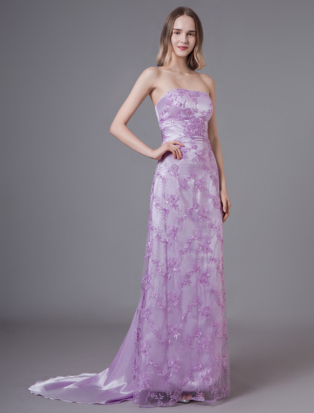 Milanoo Lilac Evening Dresses Lace Strapless Applique Formal Gowns With Train