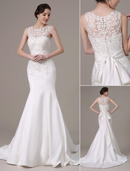 Milanoo Vestido de novia con escote transparente y lentejuela