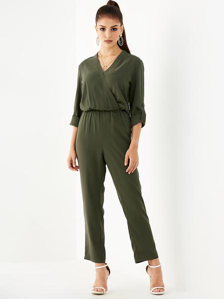 YOINS Army Green V-neck Drawstring Waist Jumpsuit