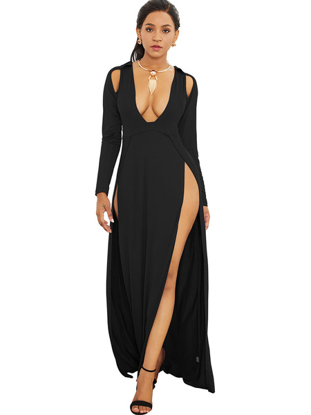 Milanoo Sexy Club Dress Blue Split Cut Out Plunging Long Sleeve Night Out Dresses