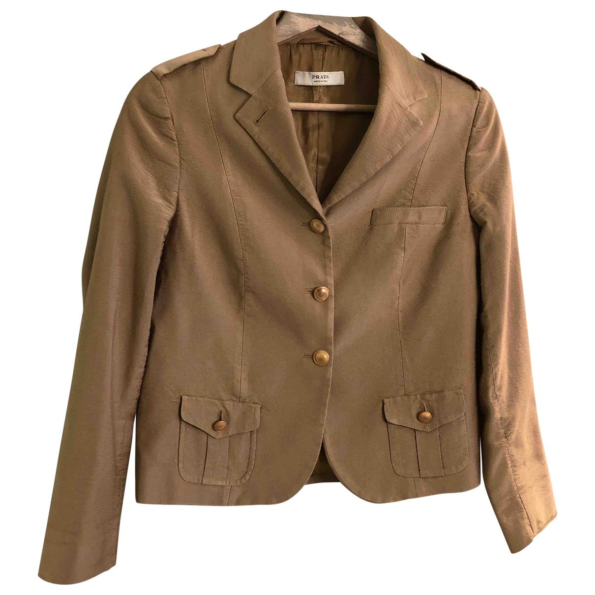 Prada \N Camel Silk jacket for Women 44 IT