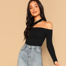 Ribbed Cutout Asymmetrical Neck Top