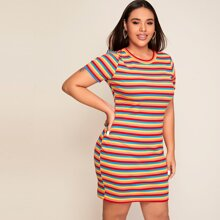 Plus Rainbow Striped Rib-knit Dress