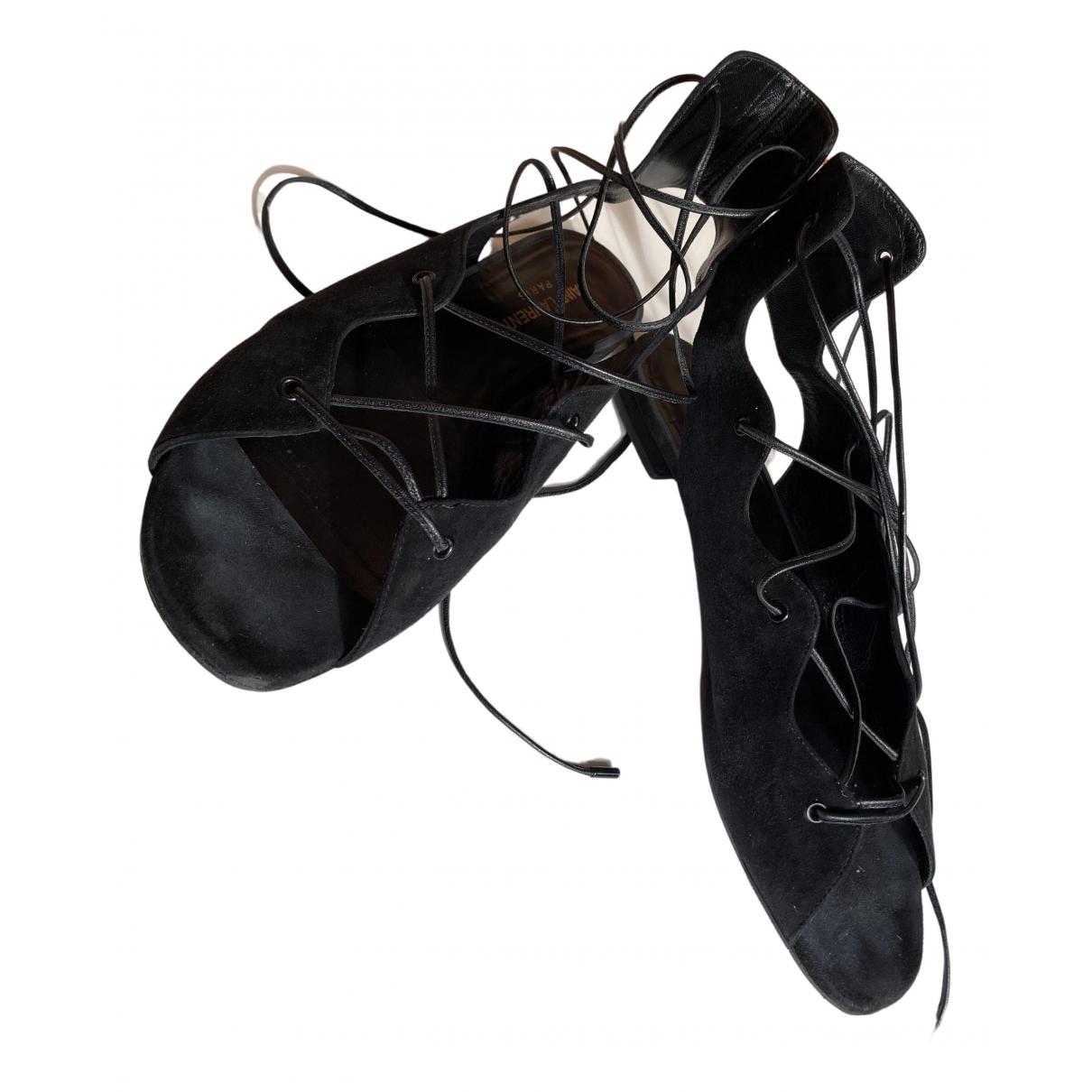 Saint Laurent - Sandales   pour femme en suede - noir