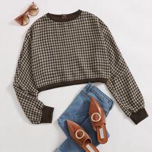Crop Pullover mit Reissverschluss hinten und Hahnentritt Muster