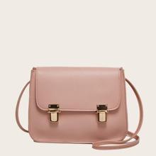 Minimalist Push Lock Flap Crossbody Bag