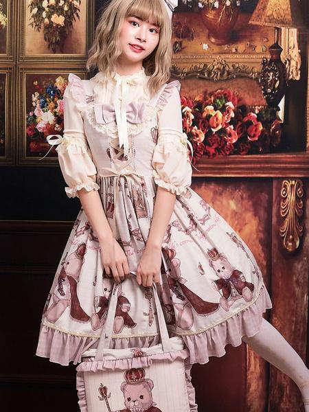 Milanoo Classic Lolita JSK Dress Crowned Bear Print Lace Ruffle Bow Dark Red Lolita Jumper Skirt