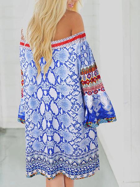 Milanoo Boho Dress Off The Shoulder Bell Sleeve Dashiki Tribal Print Beach Dress