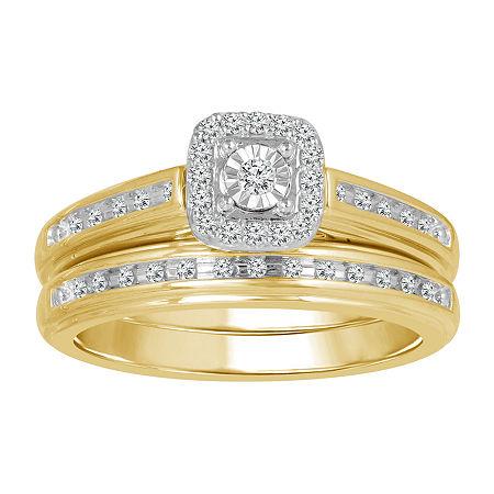 Womens 1/5 CT. T.W. Genuine White Diamond 10K Gold Bridal Set, 7 , No Color Family
