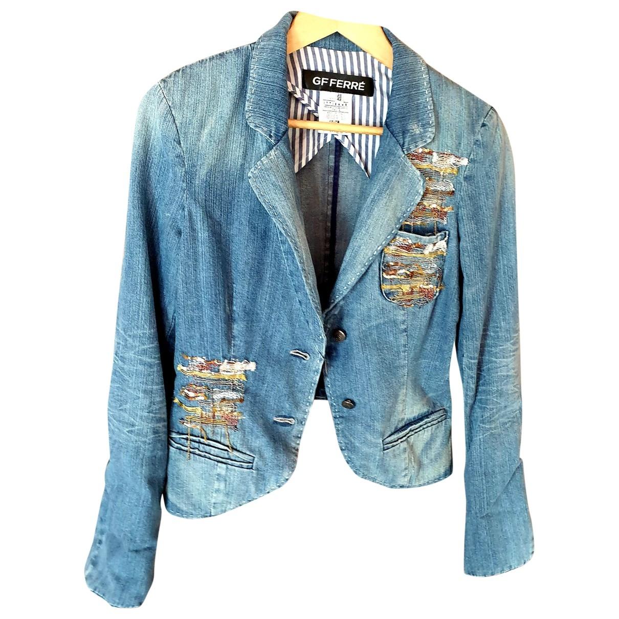 Gianfranco Ferre - Veste   pour femme en coton - bleu