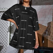 Drop Shoulder Letter Graphic Longline Tee
