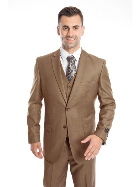 Mens 3 Piece Single Breasted Slim Fit Notch Lapel Taupe Suit