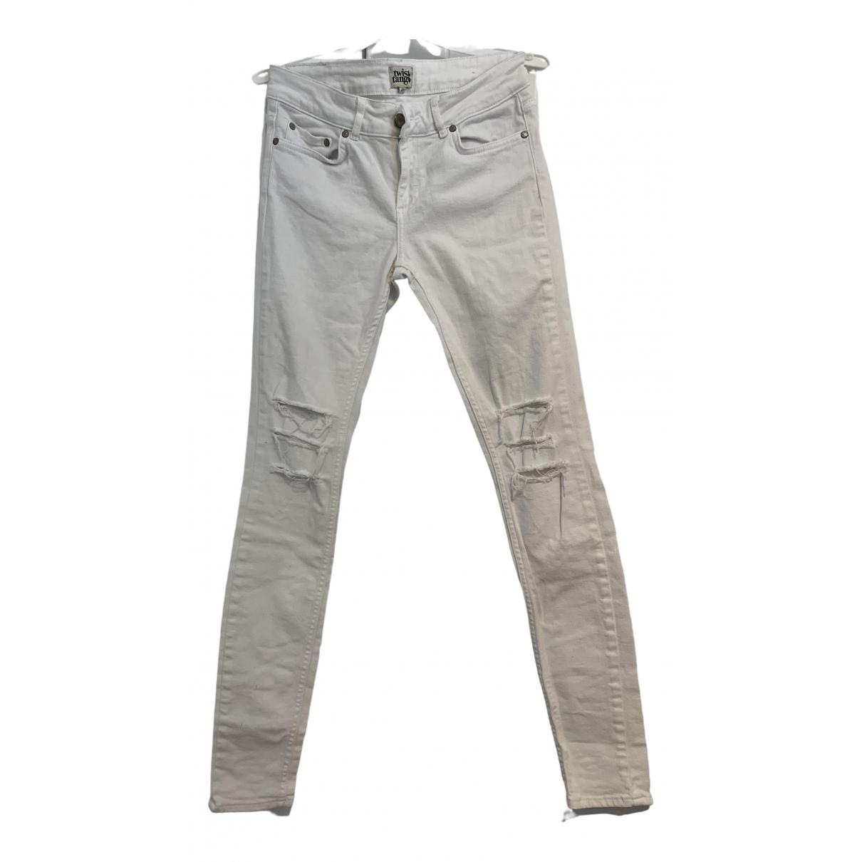 Twist & Tango \N White Cotton - elasthane Jeans for Women 27 US