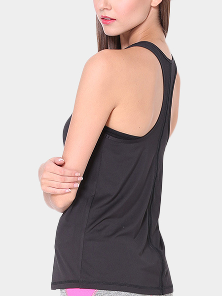 Yoins Active Quick Drying Loose Short Sleeveless T-shirt in Black