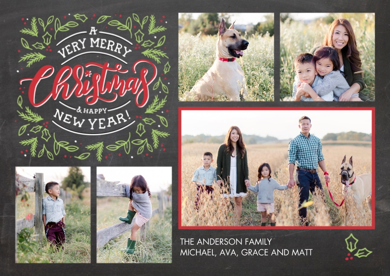 Christmas Photo Cards 5x7 Cards, Premium Cardstock 120lb with Elegant Corners, Card & Stationery -Christmas New Year Festive Foliage by Tumbalina