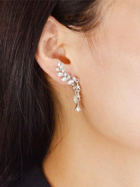 Milanoo Golden Ear Cuff Rhinestones Beaded Angel Wings Dangling Women's Pierced Earrings