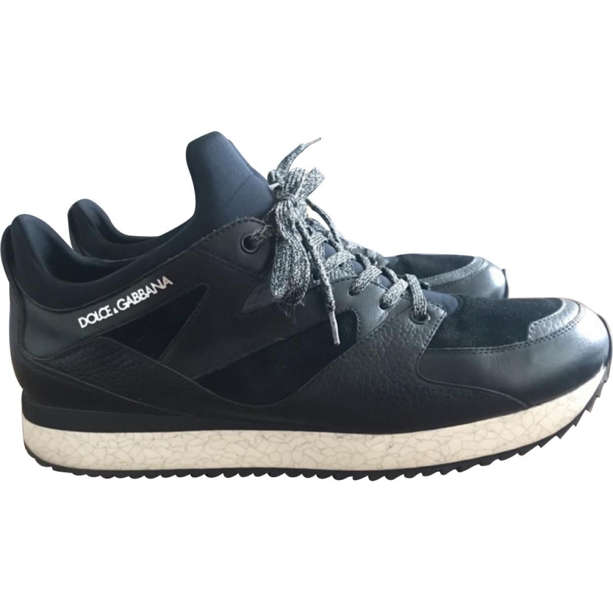 Dolce & Gabbana \N Black Leather Trainers for Men 45 EU
