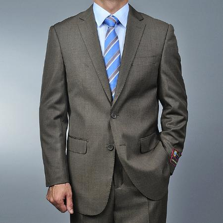 2 Button Taupe Suit Mens Cheap