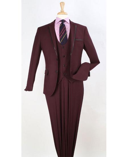 Mens Fashion Trim Lapel Burgundy Wedding Tuxedo Vested 3 Pieces