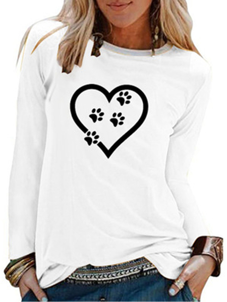 Yoins Casual Graphic Print Crew Neck Long Sleeves Tee