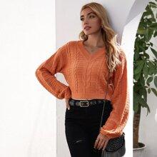 Strick Crop Pullover mit Laternenaermeln und Zopf Muster