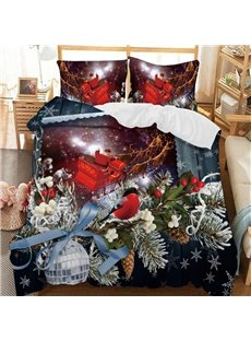 Colorful Christmas Soft 3D Printed Polyester 3-Piece Bedding Sets/Duvet Covers